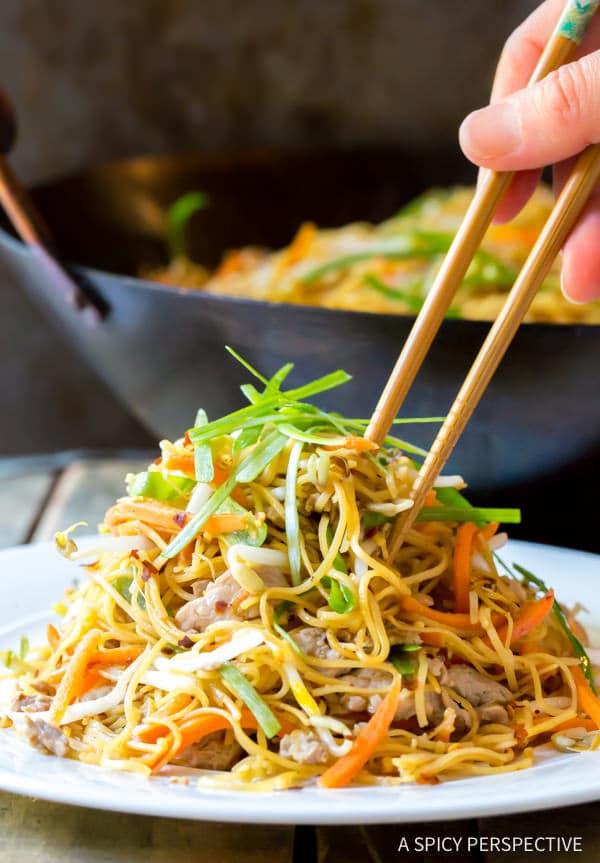 Amazing Cantonese Pan Fried Noodles (Pork Lo Mein) | ASpicyPerspective ...