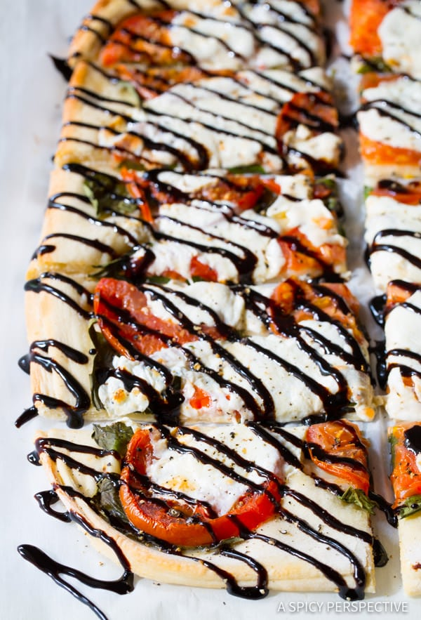 Caprese Flatbread Recipe with Cheese Stuffed Crust! | ASpicyPerspective.com