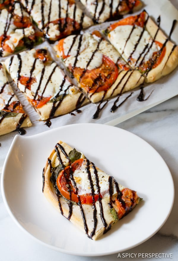 Simple Caprese Flatbread Recipe with Cheese Stuffed Crust! | ASpicyPerspective.com