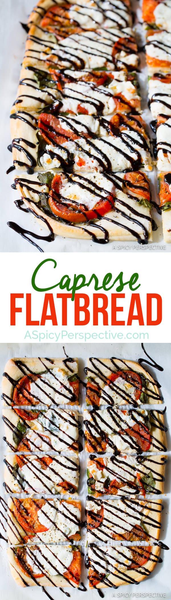 Fresh Caprese Flatbread Recipe | ASpicyPerspective.com