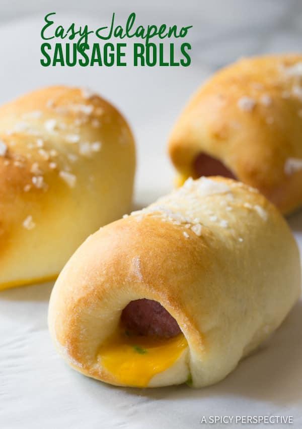 5 Ingredient Easy Jalapeno Sausage Rolls | ASpicyPerspective.com