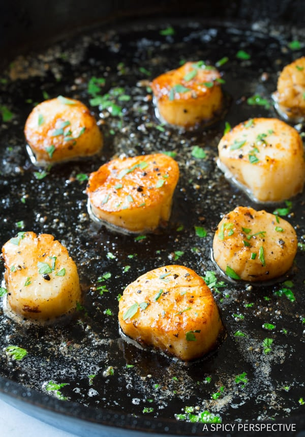 Sizzling 5-Ingredient Easy Scallop Scampi Recipe | ASpicyPerspective.com