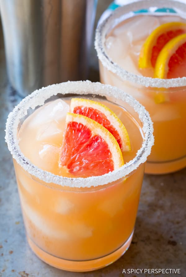 Ruby Red Pink Grapefruit Margarita Recipe | ASpicyPerspective.com