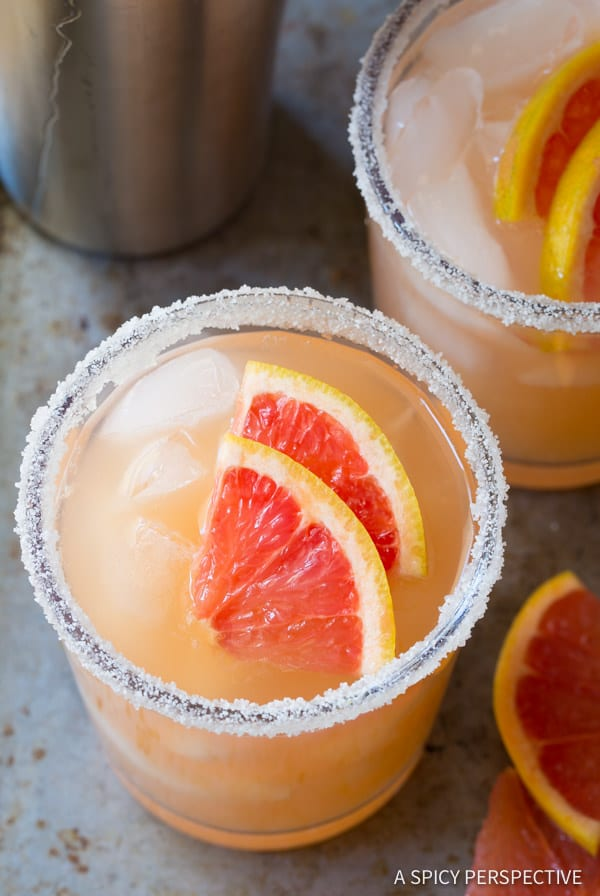 Tangy-Sweet Pink Grapefruit Margarita Recipe | ASpicyPerspective.com