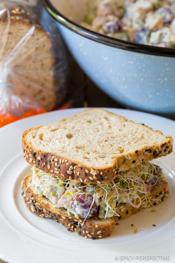 Easy Greek Chicken Salad Sandwiches (Low Fat & High Protein) | ASpicyPerspective.com
