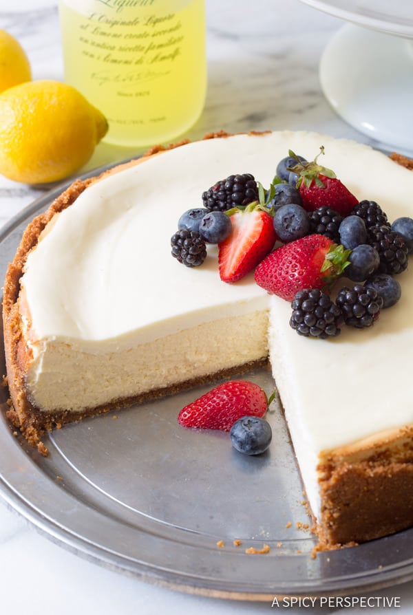 Best Limoncello Cheesecake with Biscoff Crust | ASpicyPerspective.com