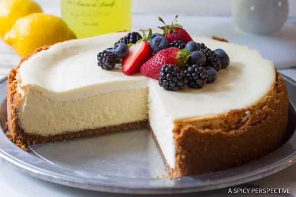 Perfect Limoncello Cheesecake with Biscoff Crust | ASpicyPerspective.com