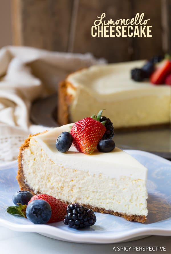 Heavenly Limoncello Cheesecake with Biscoff Crust | ASpicyPerspective.com