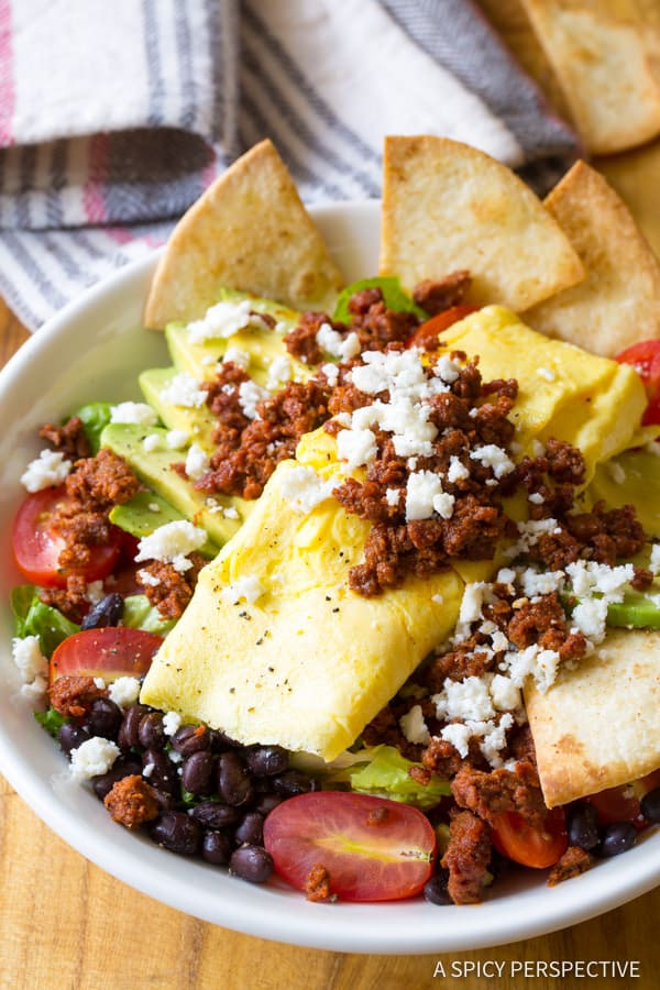 AWESOME Mexican Breakfast Salad | ASpicyPerspective.com