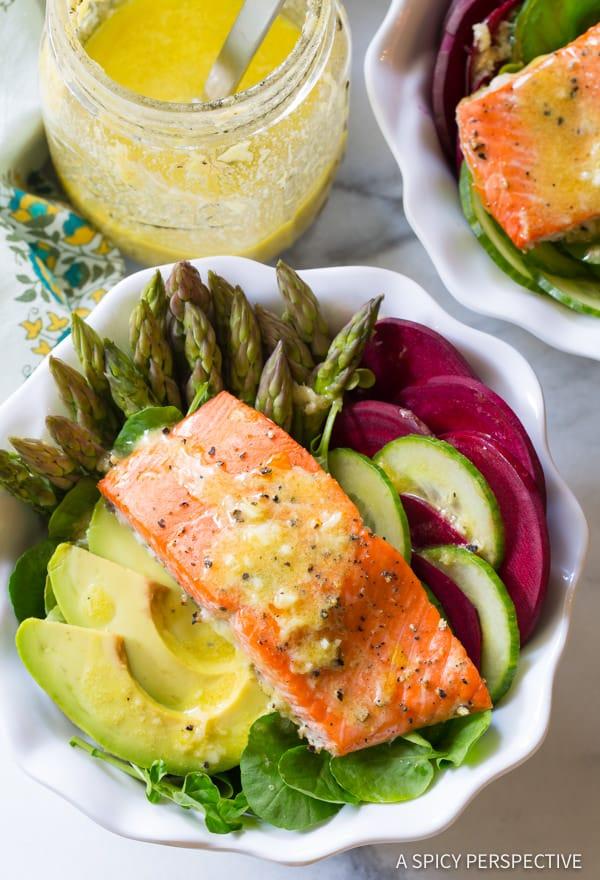 Roasted Salmon Detox Salad Recipe | ASpicyPerspective.com