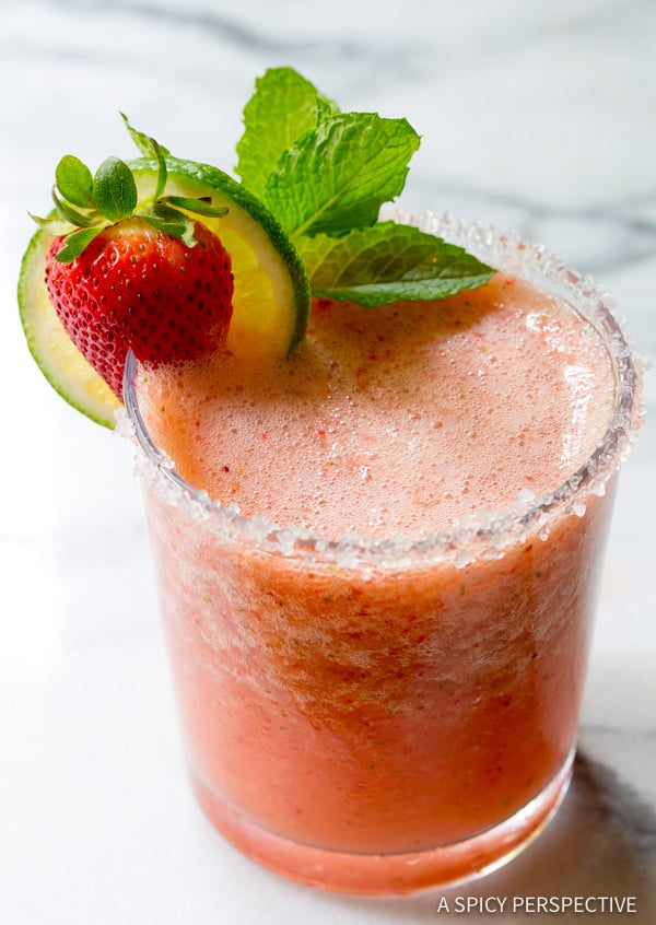 Perfect Fresh Strawberry Margaritas (with Mint!) | ASpicyPerspective.com