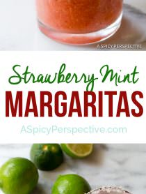 Fresh Strawberry Margaritas (with Mint!) | ASpicyPerspective.com