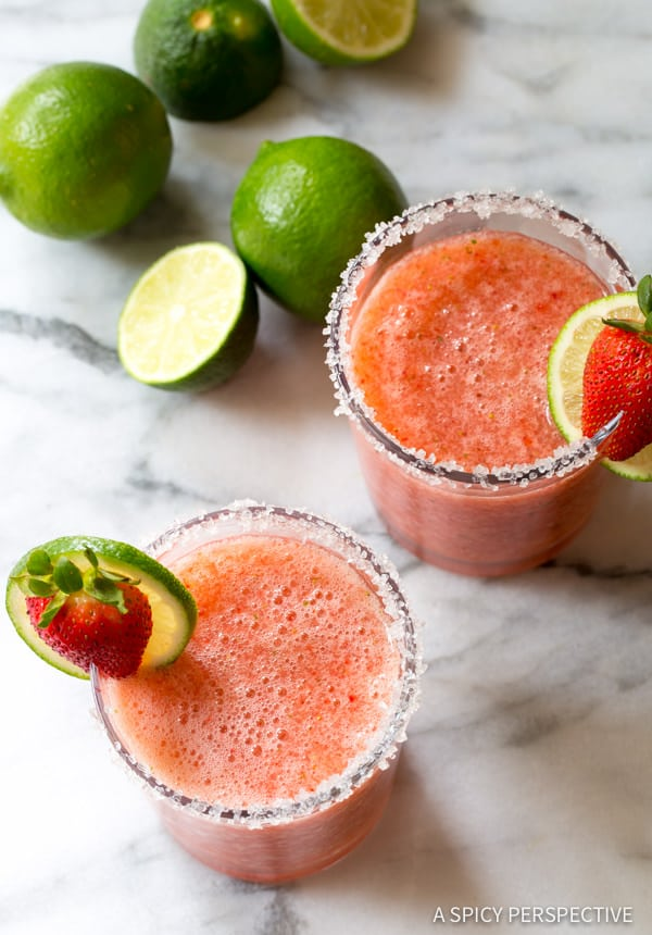 Easy Fresh Strawberry Margaritas (with Mint!) | ASpicyPerspective.com