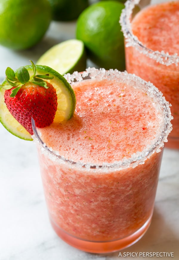 Best Fresh Strawberry Margaritas (with Mint!) | ASpicyPerspective.com