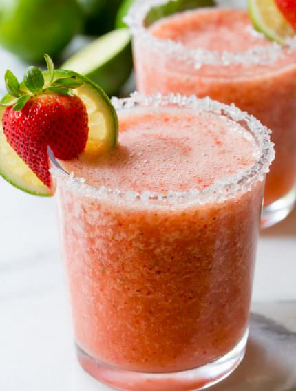 Simple Fresh Strawberry Margaritas (with Mint!) | ASpicyPerspective.com