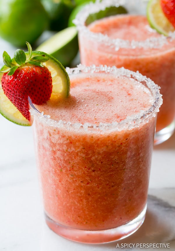 Frozen Strawberry Margarita Recipe Video A Spicy Perspective
