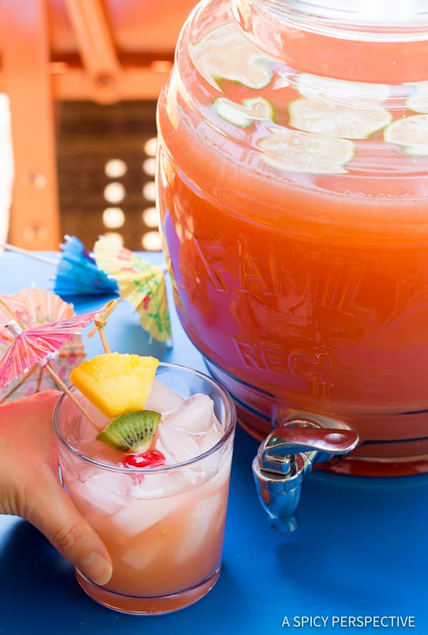 Tangy-Sweet Bahamian Blaster Party Punch - Large Batch Summer Cocktail Recipe! | ASpicyPerspective.com