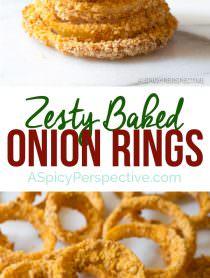 Crisp Zesty Baked Onion Rings Recipe | ASpicyPerspective.com