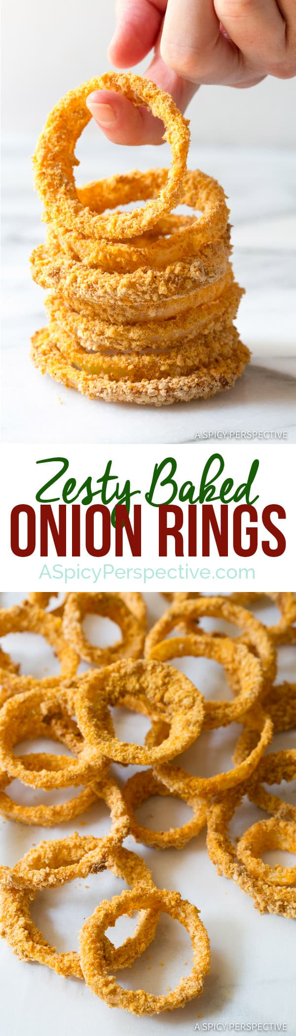 Crisp Zesty Baked Onion Rings Recipe | ASpicyPerspective.com