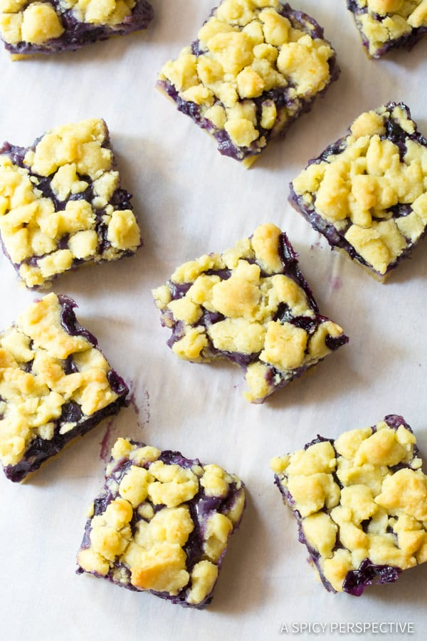 Fresh Gooey Blueberry Bars Recipe | ASpicyPerspective.com