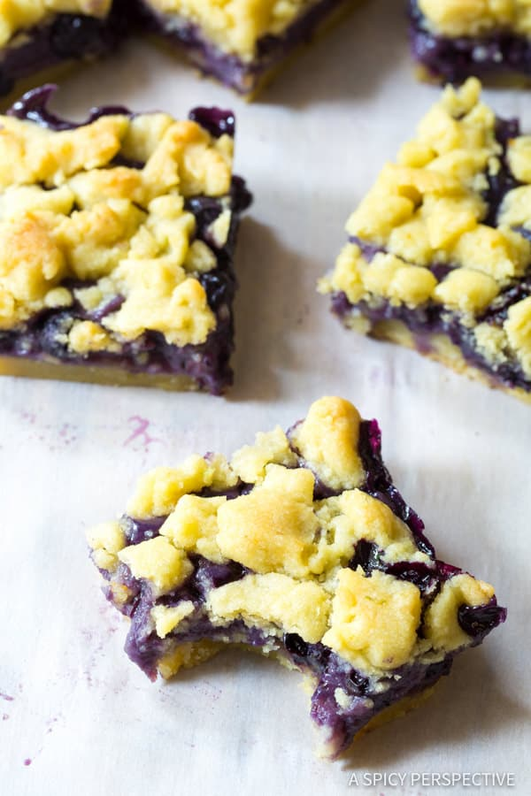 Sweet Gooey Blueberry Bars Recipe | ASpicyPerspective.com