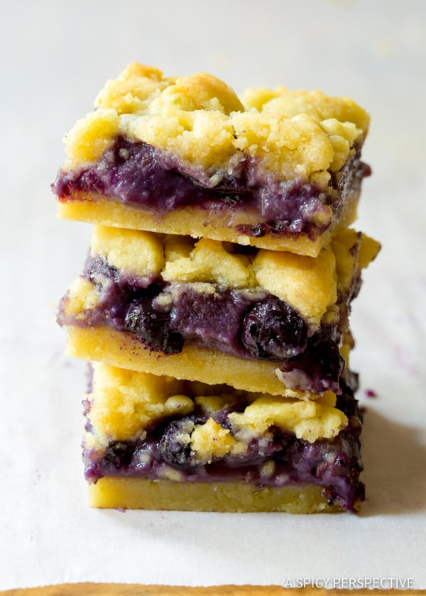 Fresh Gooey Blueberry Cookie Bars | ASpicyPerspective.com