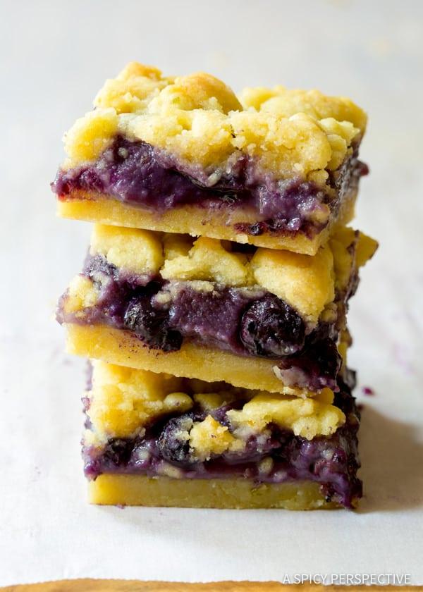Fresh Gooey Blueberry Cookie Bars | ASpicyPerspective.com