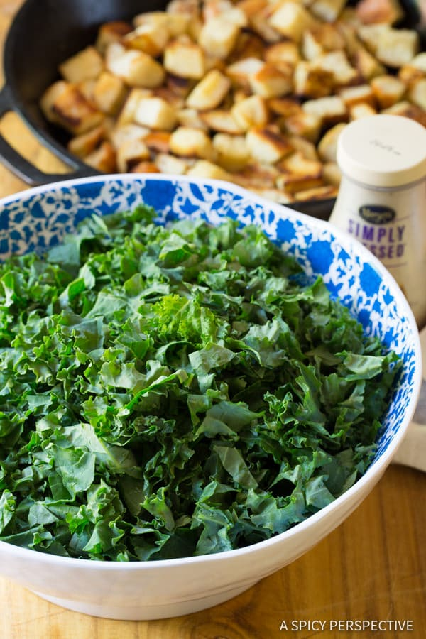 Making Healthy Crunchy Kale Caesar Salad Recipe | ASpicyPerspective.com