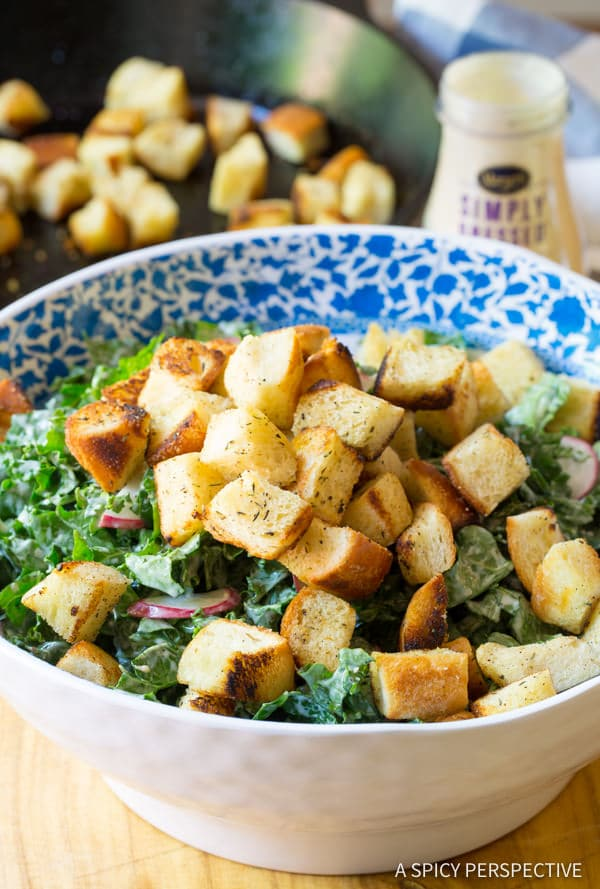 Must-Make Healthy Crunchy Kale Caesar Salad Recipe | ASpicyPerspective.com