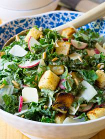Crunchy Kale Caesar Salad Recipe | ASpicyPerspective.com