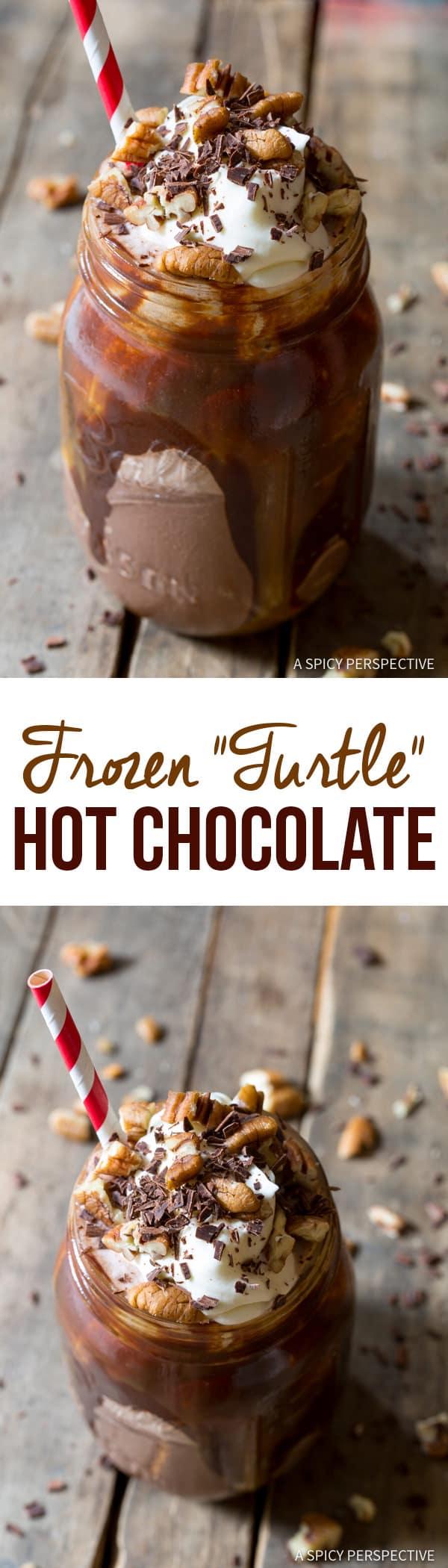 """Turtle"" Frozen Hot Chocolate Recipe | ASpicyPerspective.com"