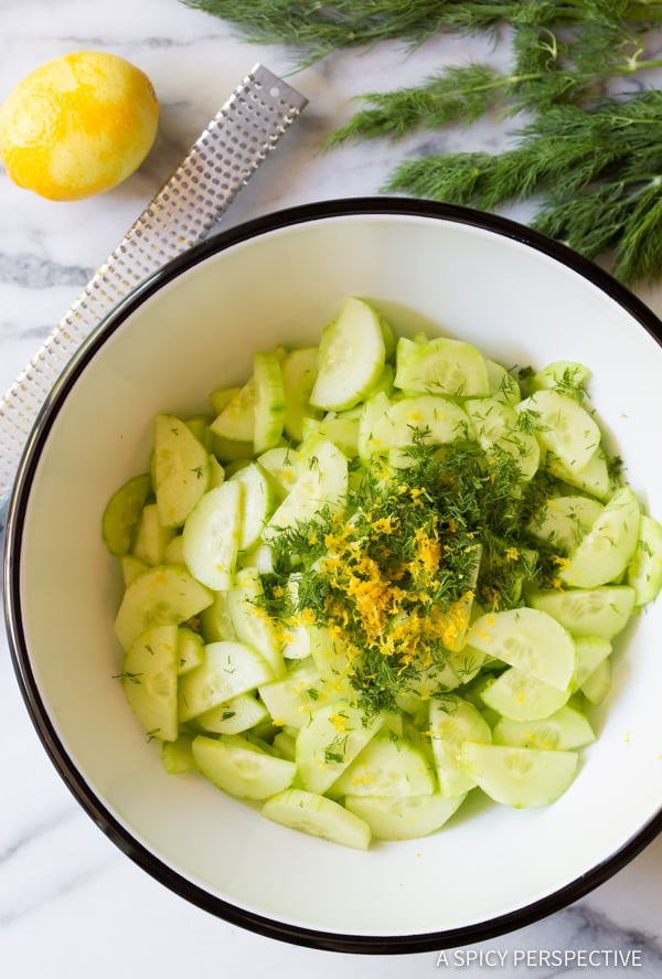 Dill and Lemon #ASpicyPerspective #CucumberSalad #GreekCucumberSalad #CucumberDillSalad #CreamyCucumberSalad #Salad #Dill #Cucumber #GreekYogurt #Summer