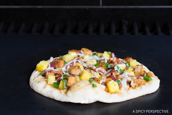Grilling Chicken Teriyaki Pizza | ASpicyPerspective.com