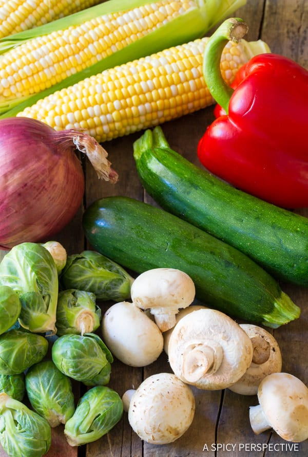 Summer Vegetables #ASpicyPerspective #Kabobs #Vegetables #GrilledVegetables #GrilledVegetableKabobs #SummerVegetable #Summer #HowtoGrillVegetables #Fajita #FajitaButter #Skewers #SideDish #VegetableSkewers