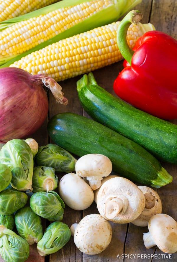 Making Grilled Fajita Vegetable Skewers | ASpicyPerspective.com