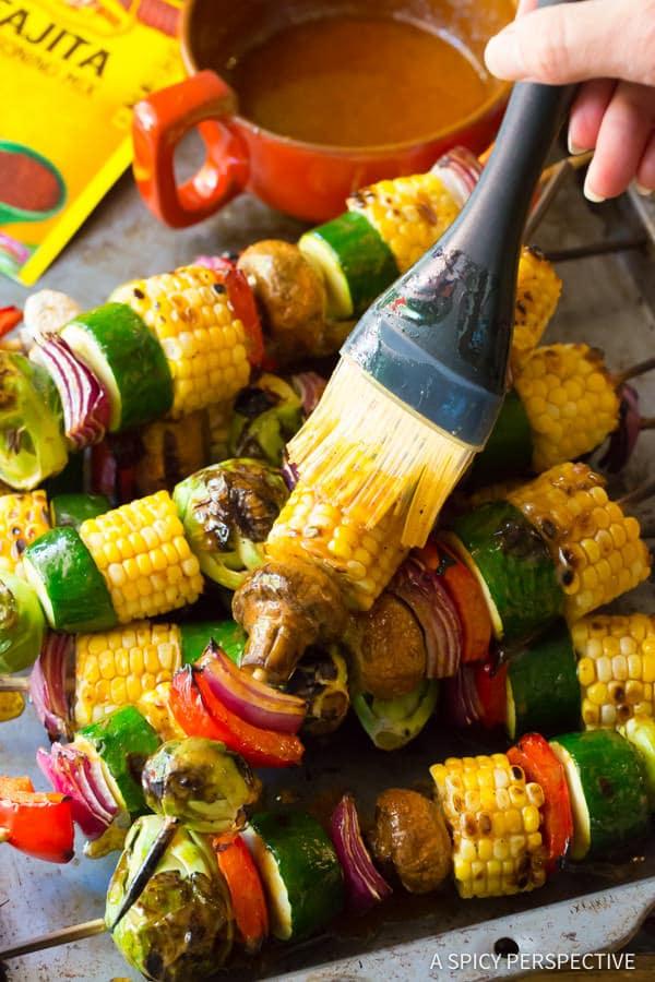 Zesty Grilled Fajita Vegetable Skewers | ASpicyPerspective.com