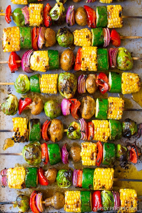 Grilled Vegetable Kabobs #ASpicyPerspective #Kabobs #Vegetables #GrilledVegetables #GrilledVegetableKabobs #SummerVegetable #Summer #HowtoGrillVegetables #Fajita #FajitaButter #Skewers #SideDish #VegetableSkewers