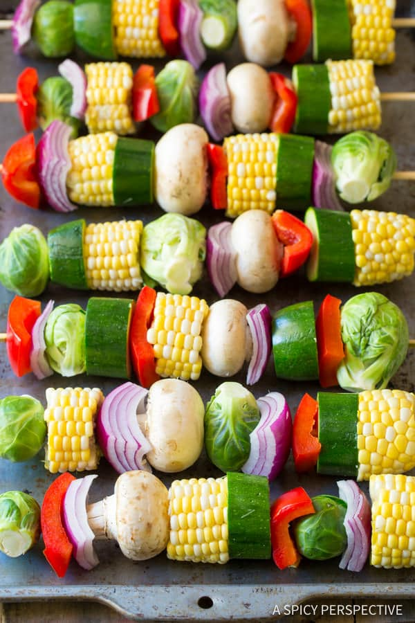 Vegetable Kabobs #ASpicyPerspective #Kabobs #Vegetables #GrilledVegetables #GrilledVegetableKabobs #SummerVegetable #Summer #HowtoGrillVegetables #Fajita #FajitaButter #Skewers #SideDish #VegetableSkewers