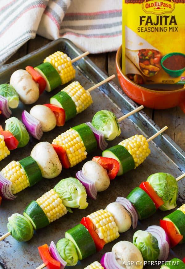 How To: Grilled Fajita Vegetable Skewers | ASpicyPerspective.com