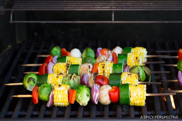 How to Grill Vegetables #ASpicyPerspective #Kabobs #Vegetables #GrilledVegetables #GrilledVegetableKabobs #SummerVegetable #Summer #HowtoGrillVegetables #Fajita #FajitaButter #Skewers #SideDish #VegetableSkewers