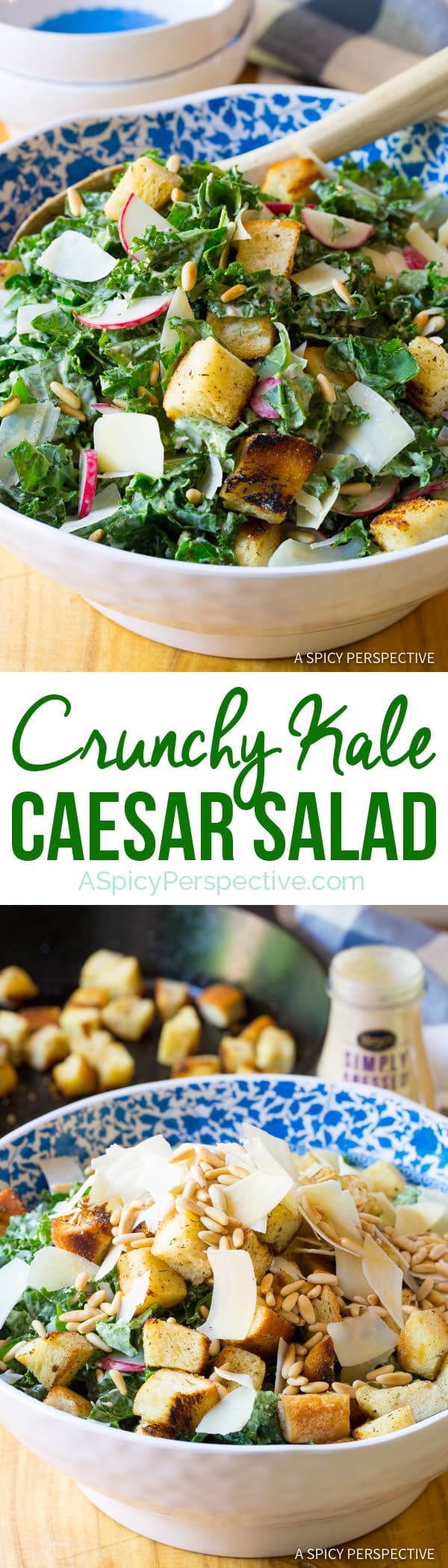 Healthy Crunchy Kale Caesar Salad Recipe | ASpicyPerspective.com