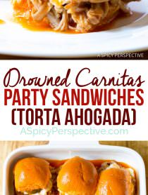 Amazing Drowned Carnitas Party Sandwiches (Torta Ahogada) | ASpicyPerspective.com
