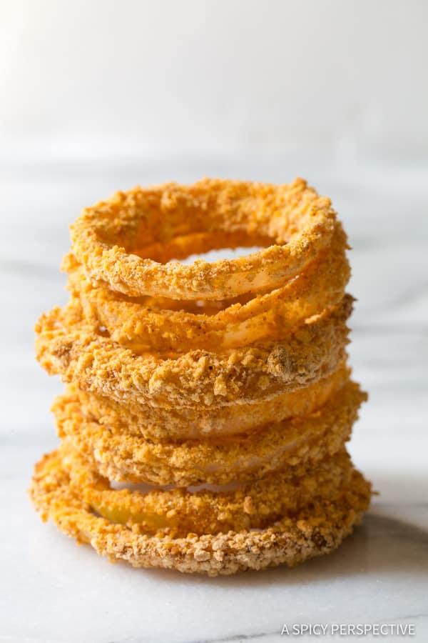Easy Zesty Baked Onion Rings Recipe | ASpicyPerspective.com