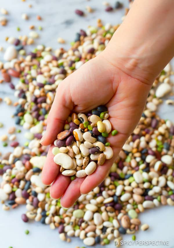 Making Healthy 15 Bean Salad Recipe | ASpicyPerspective.com