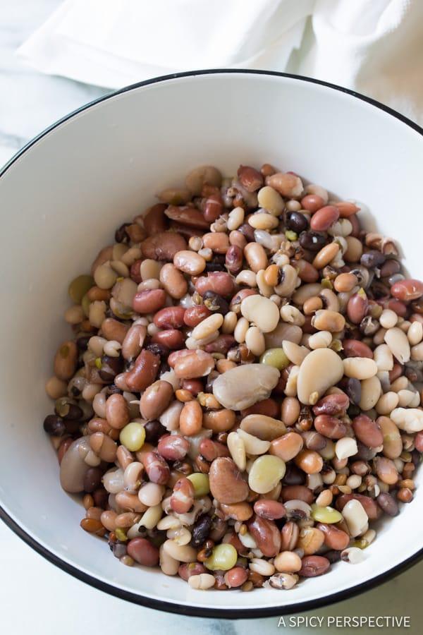 How to Make Healthy 15 Bean Salad Recipe | ASpicyPerspective.com