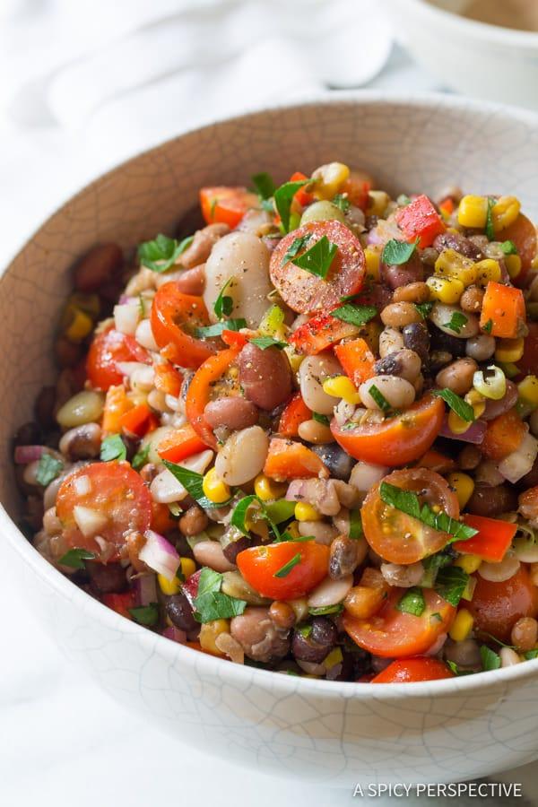 Healthy 15 Bean Salad Recipe | ASpicyPerspective.com