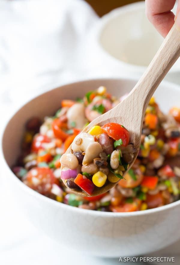 Zesty 15 Bean Salad Recipe | ASpicyPerspective.com