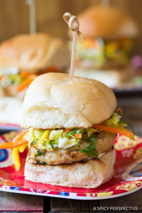 The Best Asian Chicken Sliders with Slaw | ASpicyPerspective.com