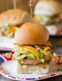 Zesty Asian Chicken Sliders with Slaw | ASpicyPerspective.com