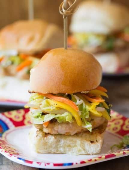 Zesty Asian Chicken Sliders with Slaw | ASpicyPerspective.com